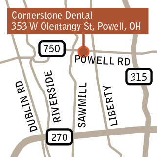 Cornerstone Dental Powell Map